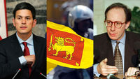 David Miliband, Sir Malcolm Rifkind and Sri Lankan flag (R)