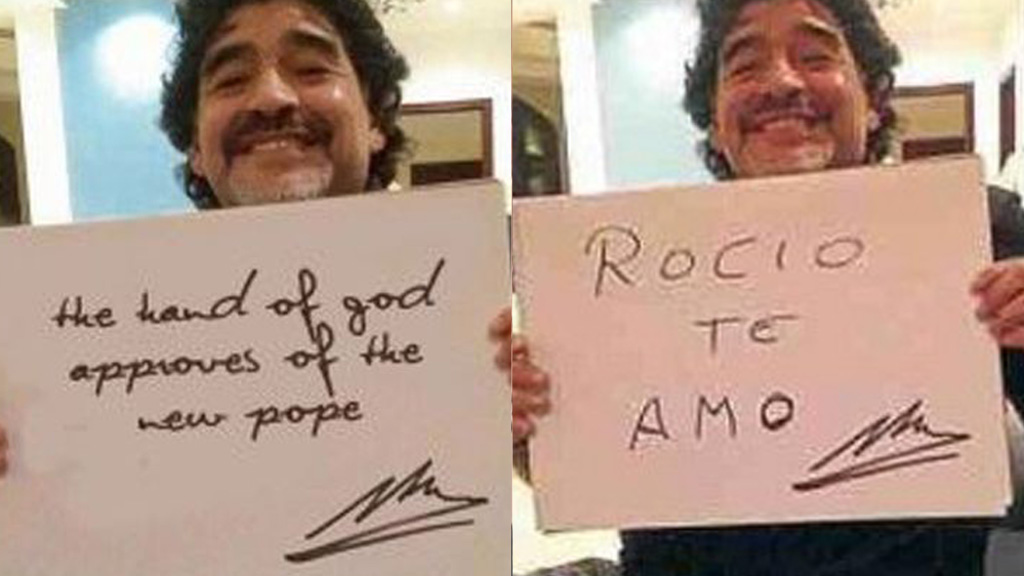 A fake image of Diego Maradona which did the rounds on Twitter, plus the real image it was taken from.