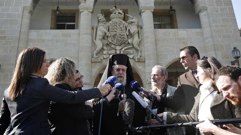 Archbishop Chrysostomos has said the Church is willing to mortgage its assets so Cyprus can stand on its own two feet (picture: Reuters)