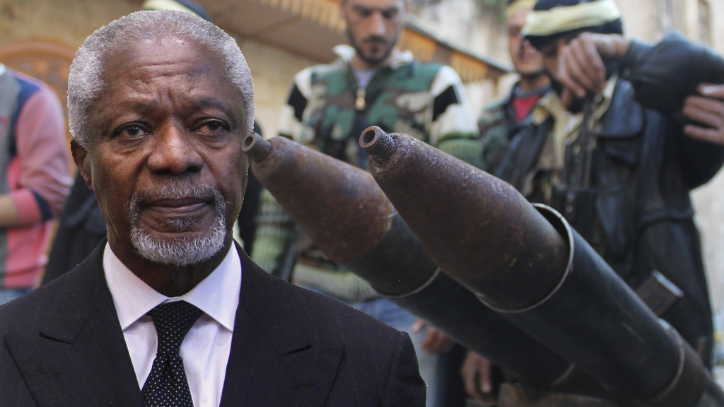 Kofi Annan criticises those trying to send more weapons into Syria (pictures: Reuters)
