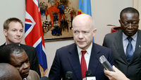 Foreign Secretary William Hague speaks to reporters in Kinshasa (Getty)