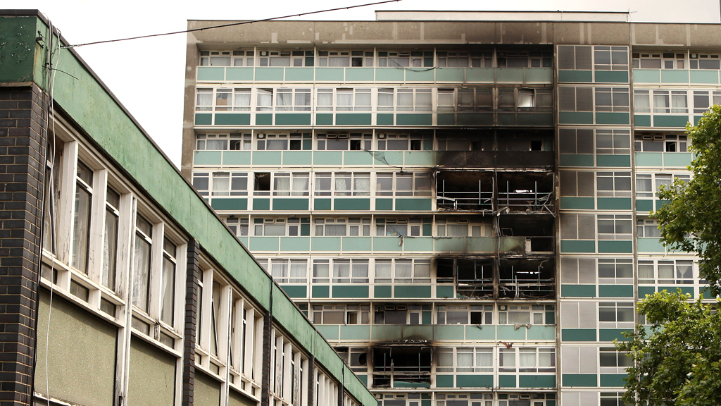 Lakanal House in south London remains burnt out after a huge fire in 2009 (G)