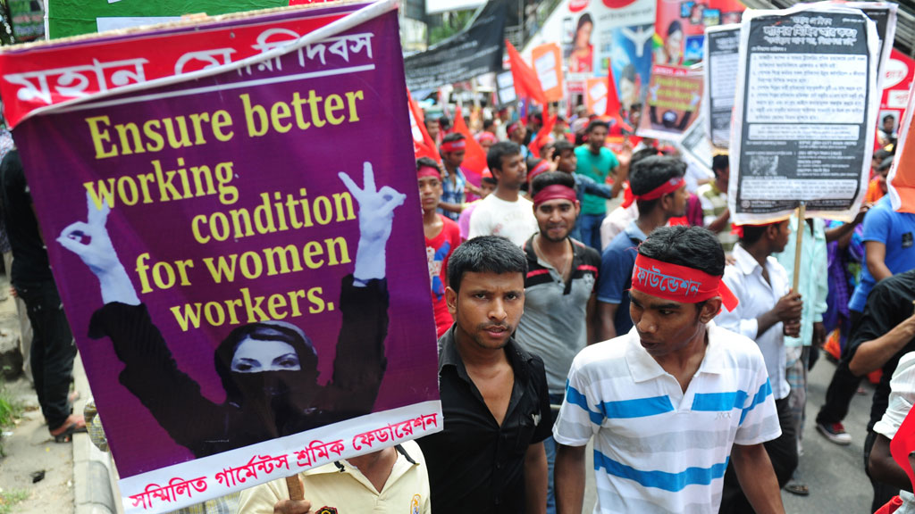 May Day marchers protest in Dhaka (pic: Getty)