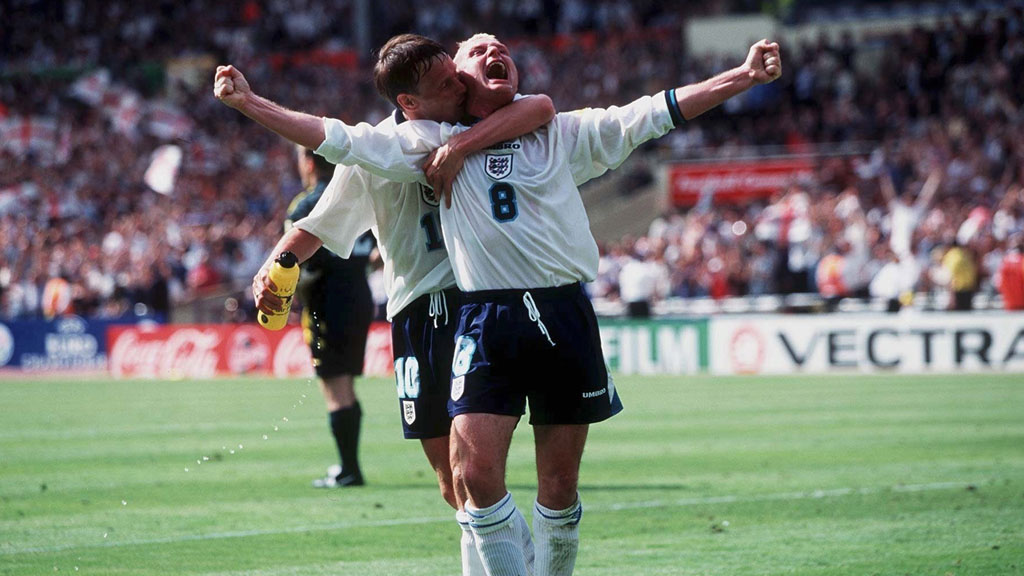 Gazza celebrates goal at Euro 96 (Getty)