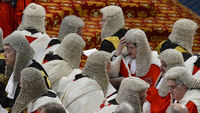 Peers await the Queen's arrival at the House of Lords
