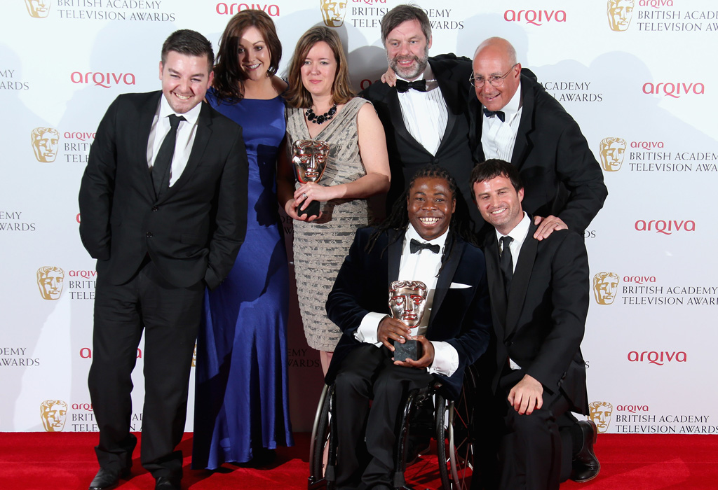 The victorious Channel 4 Paralypmic team at the TV Bafta awards 2013.