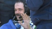 Commander Chris Hadfield touches down in Kazakhstan.