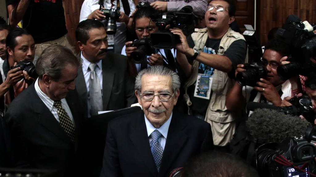 Guatemala's former military leader Efrain Rios Montt stands trial (R)