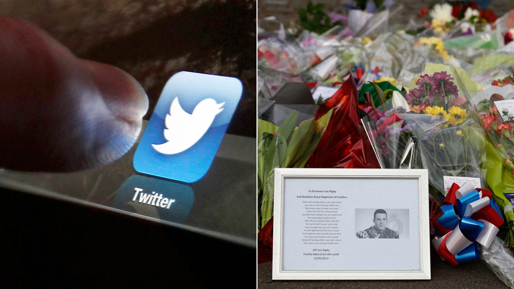 Woolwich attack: two men have been arrested for allegedly making offensive comments on Twitter about the murder of a British soldier (picture: Reuters)