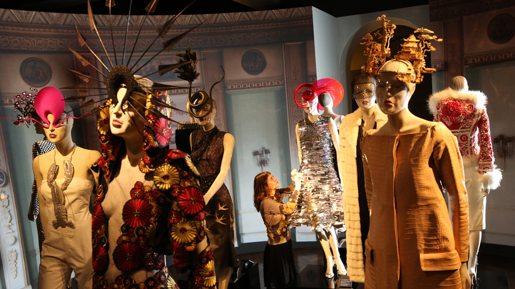 Lobster necklaces and other Isabella Blow items on display at Fashion Galore (picture: Getty)