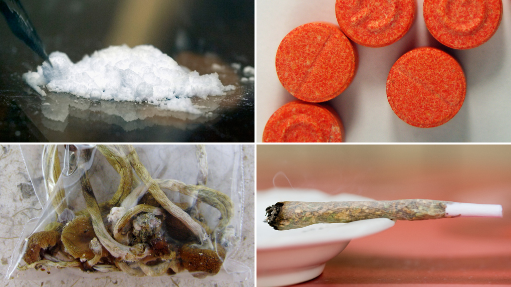Cocaine, cannabis, ecstacy and mushrooms (pictures: Getty)