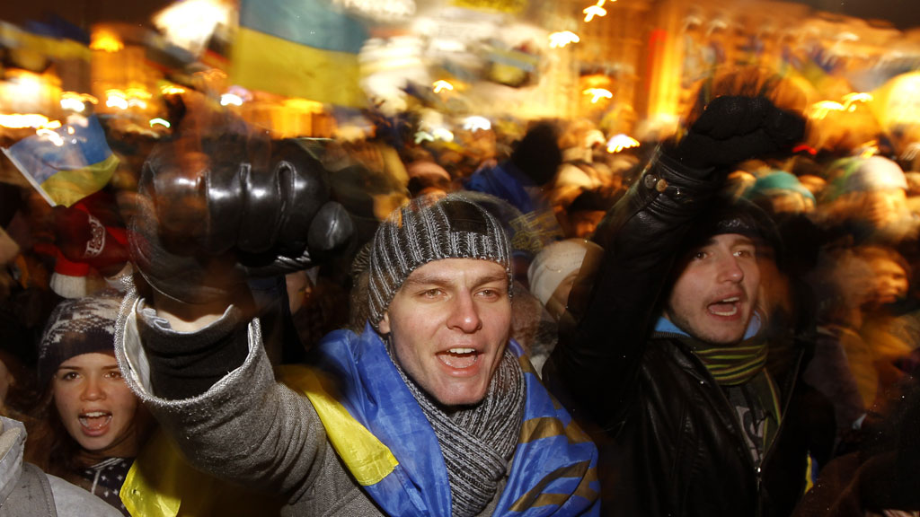 Protesters in the Ukraine chant slogans during a demonstration in support of the EU integration at Independence Square in Kiev in November (G/R)