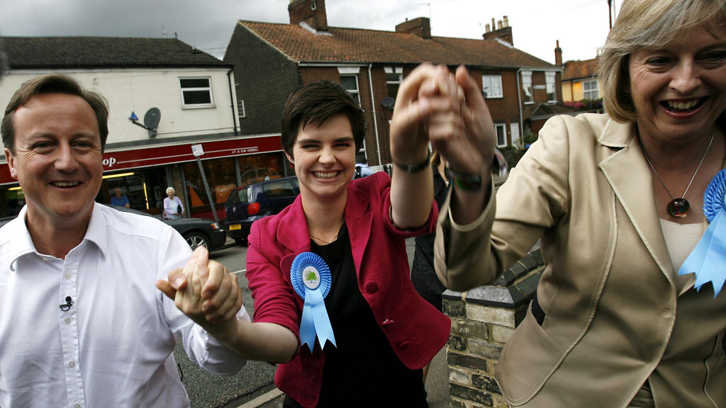 Chloe Smith with David Cameron and Theresa May after her 2009 Norwich by-election win.