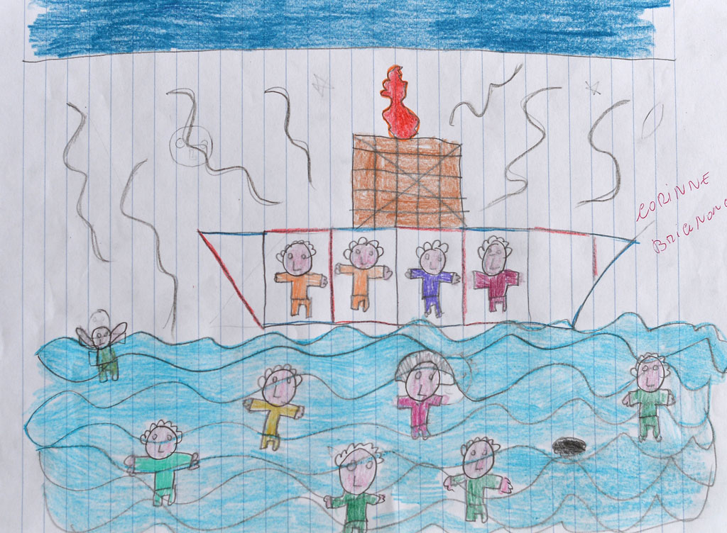 A Lampedusa child's drawing shows the deadly asylum-seeker shipwreck (G)