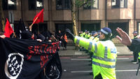 EDL and anti-fascists charge police lines at London protest