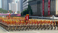 North Korea celebrates 65 years with military parades
