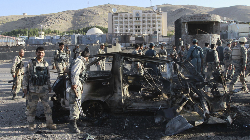 Taliban militants in car bomb attack on US consulate (picture: Reuters)