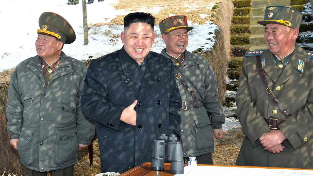 Kim Jong-un watches what was reported to be a miltiary drill of assault drones