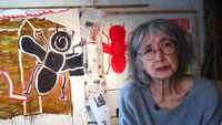 Aero Girl revealed: Artist Rose Wylie in her studio. (Channel 4 News)