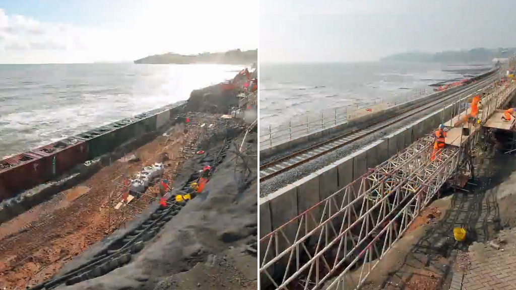 The broken Dawlish rail link, which became one of the defining images of the flooding that hit parts of southern Britain in February, is reopening in time for the Easter holidays.