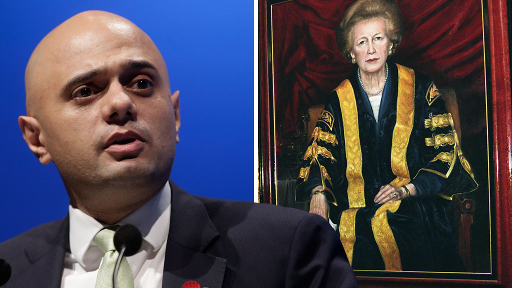 Sajid Javid and a portrait of Margaret Thatcher