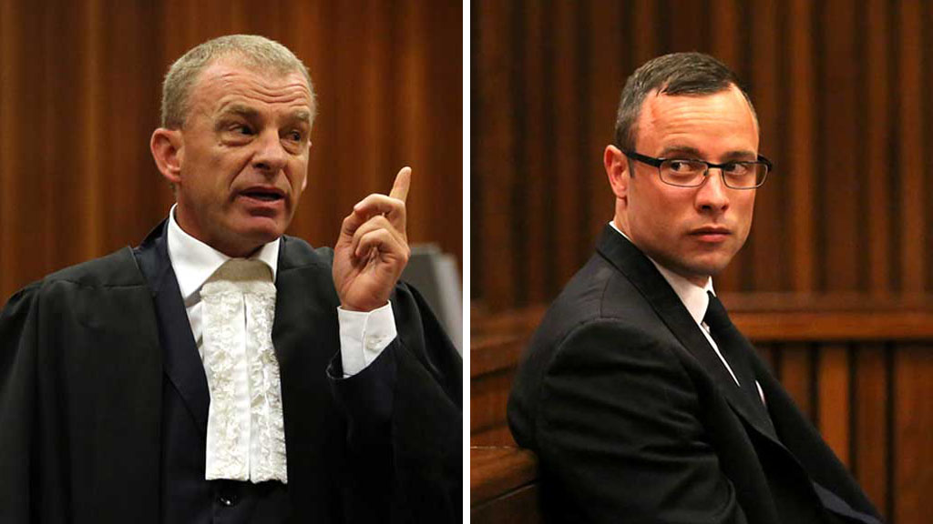 Oscar Pistorius Trial Gerrie Nel and Oscar Pistorius