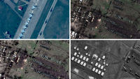 Satellite images alleged to be of Russian military at Ukraine's border (pictures: Digital Globe)