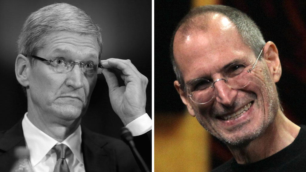 Tim Cook and Steve Jobs (pictures: Getty)