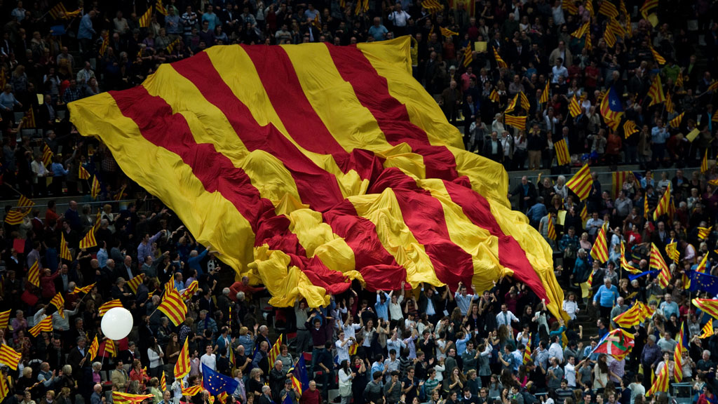 Catalan flag at independence rally (Reuters)