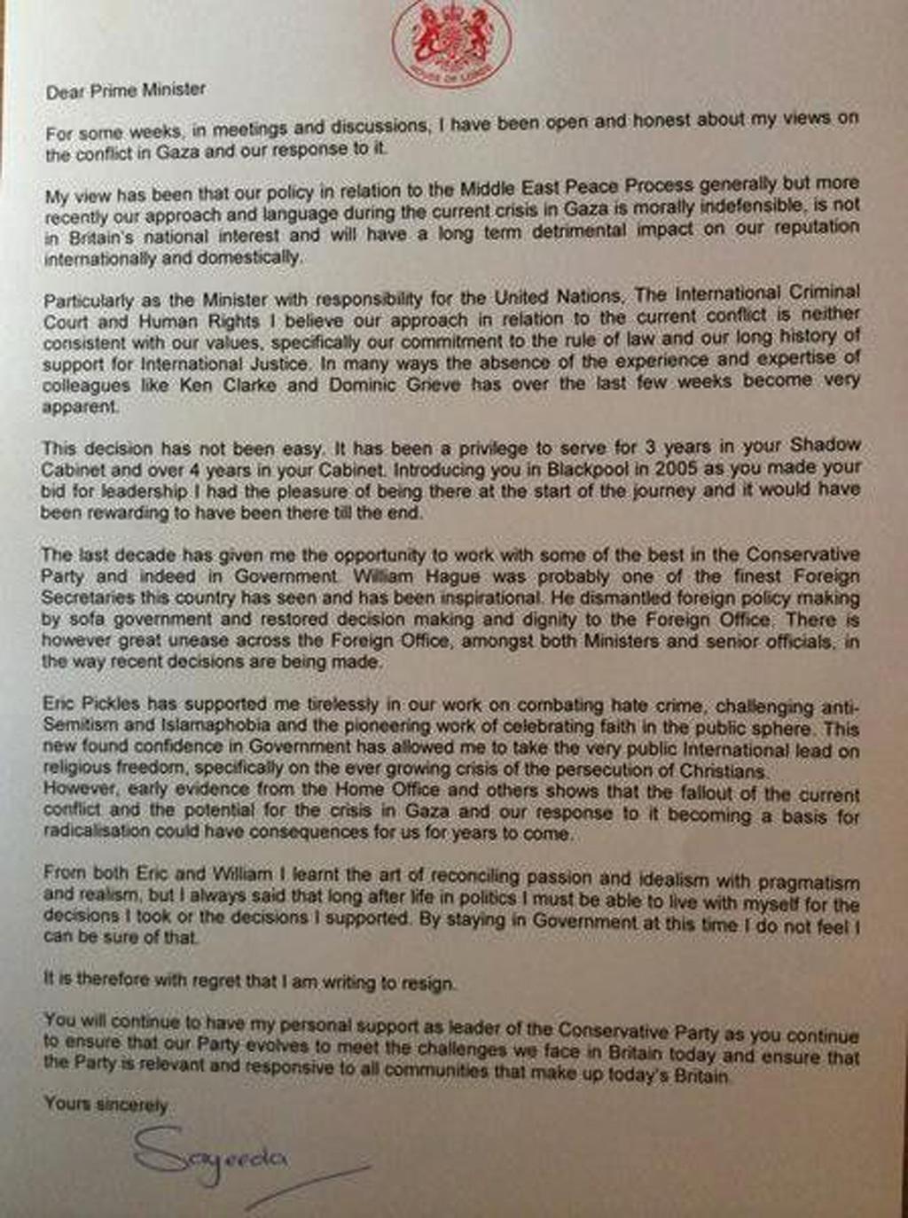 Baroness Sayeeda Warsi's resignation letter (WARSI TWITTER)