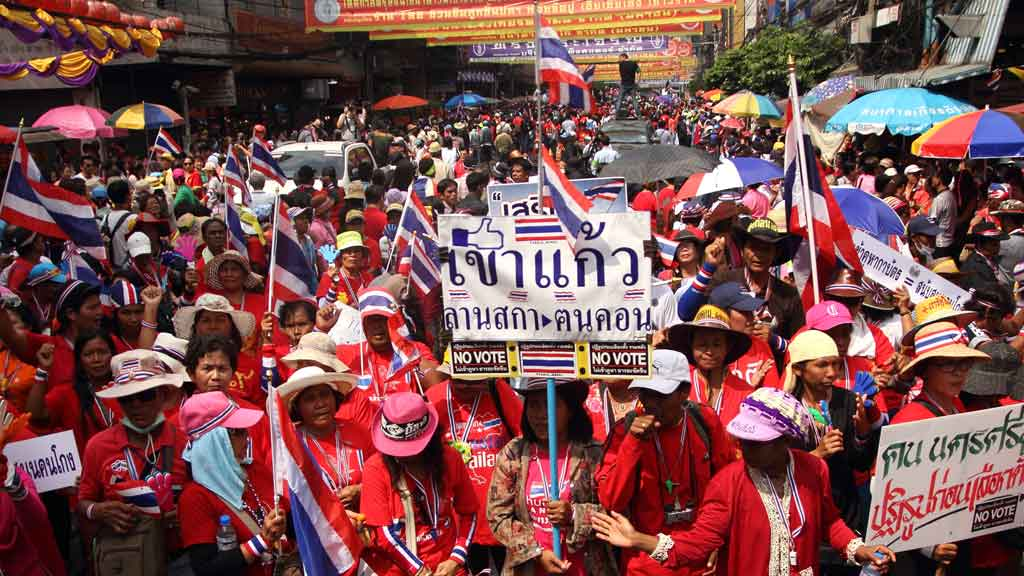 Three people were injured in Thailand in the latest demonstrations ahead of a general election
