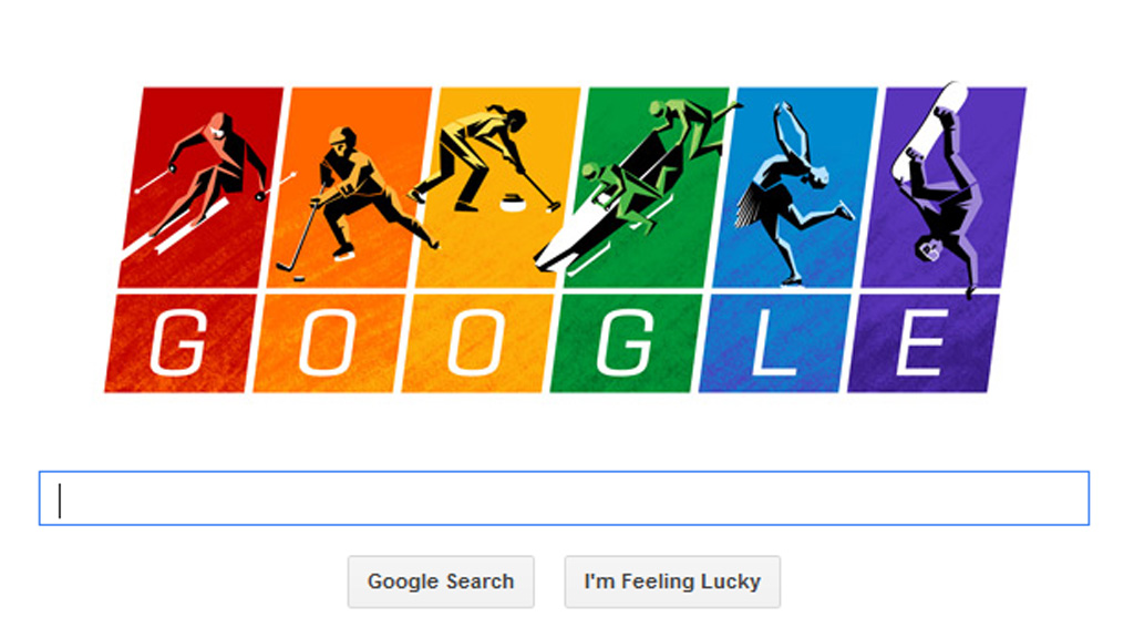 Google doodle in rainbows.
