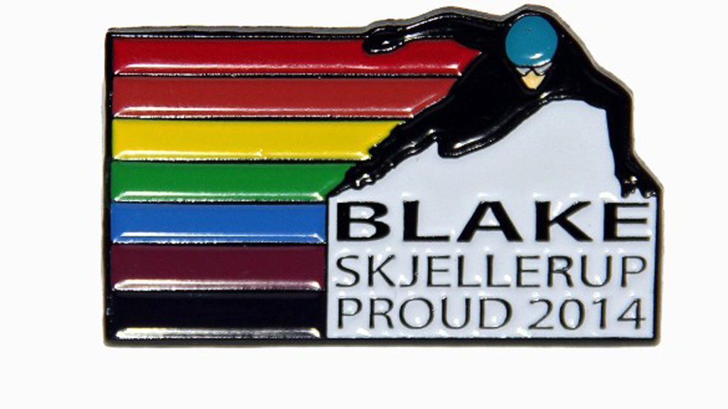 New Zealand's Blake Skjellerup has made his own rainbow badges for Sochi. (Picture: CNN)