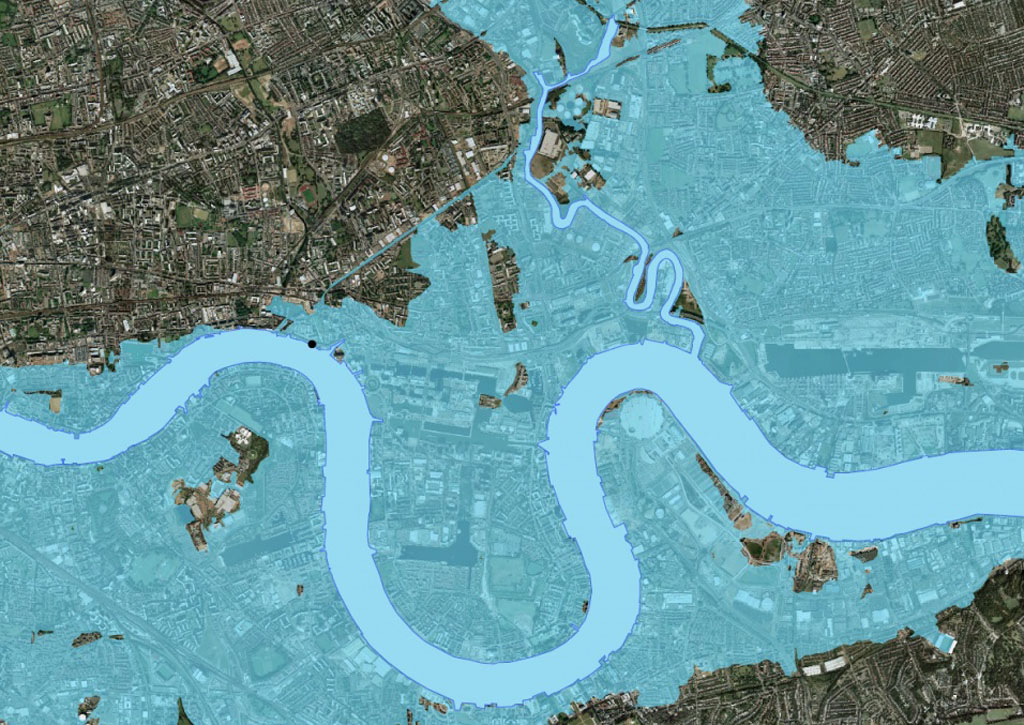 London flooding without Thames barrier (Picture: Environment Agency)