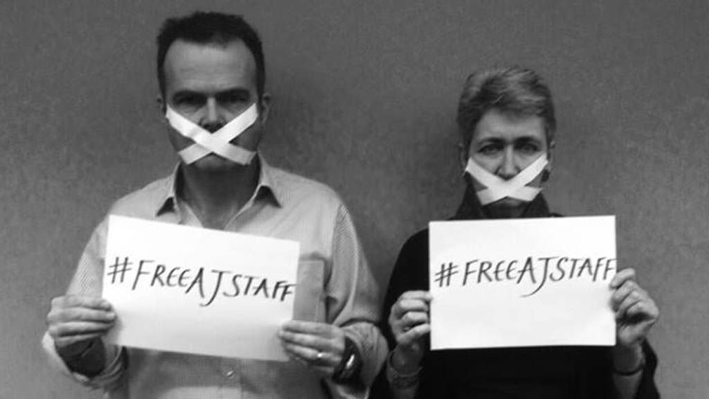 Lindsey Hilsum and Jonathan Miller supporting the campaign to free Al Jazeera journalists