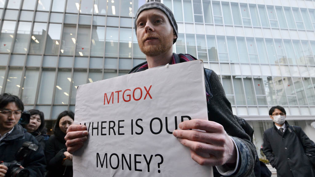 Bitcoin trader Kolin Burges outside Mt. Gox on Wednesday (picture: Getty)