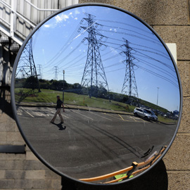 Pylons reflected in a mirror (Reuters)