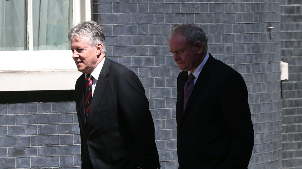 Peter Robinson (l) with Martin McGuinness (Getty)