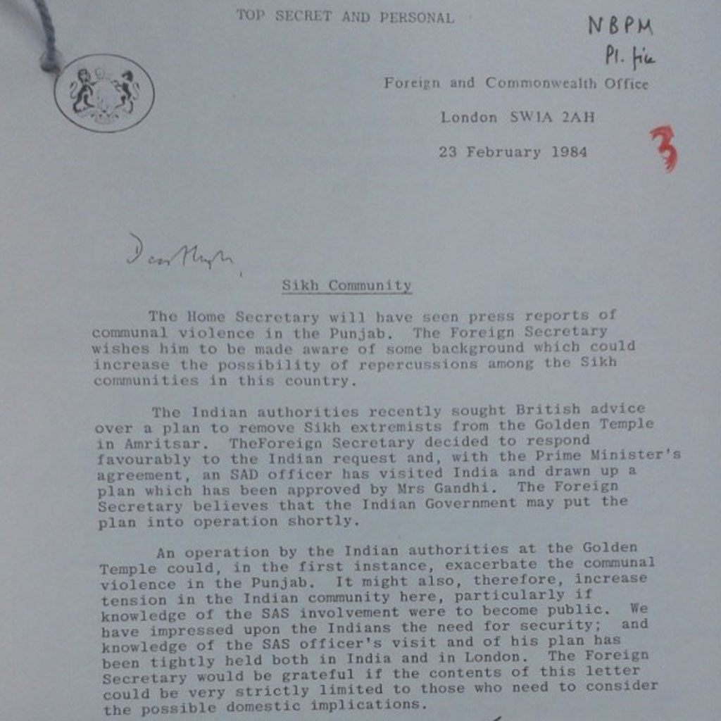 Letter purportedly outlining British role in Operation Blue Star (Stop Deportations)