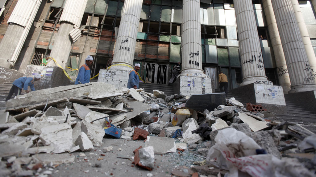Rubble outside a courthouse in Cairo following a bomb explosion (picture: Reuters)