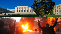 Palais des Nations, Geneva (top) and Syria following an alleged barrel bomb attack (bottom) - pictures, Reuters and Getty