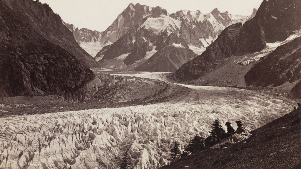 Walkers resting alongside the Mer de Glace glacier, 1875 (Getty)