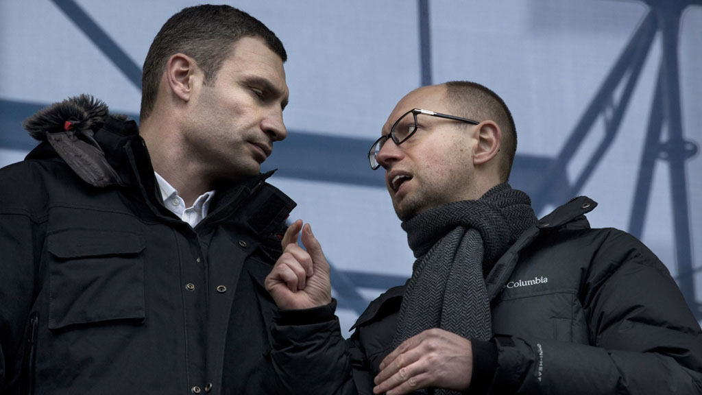 Ukraine protests: Vitaly Kitschko (left) and Arseiny Yatsenyuk (right)