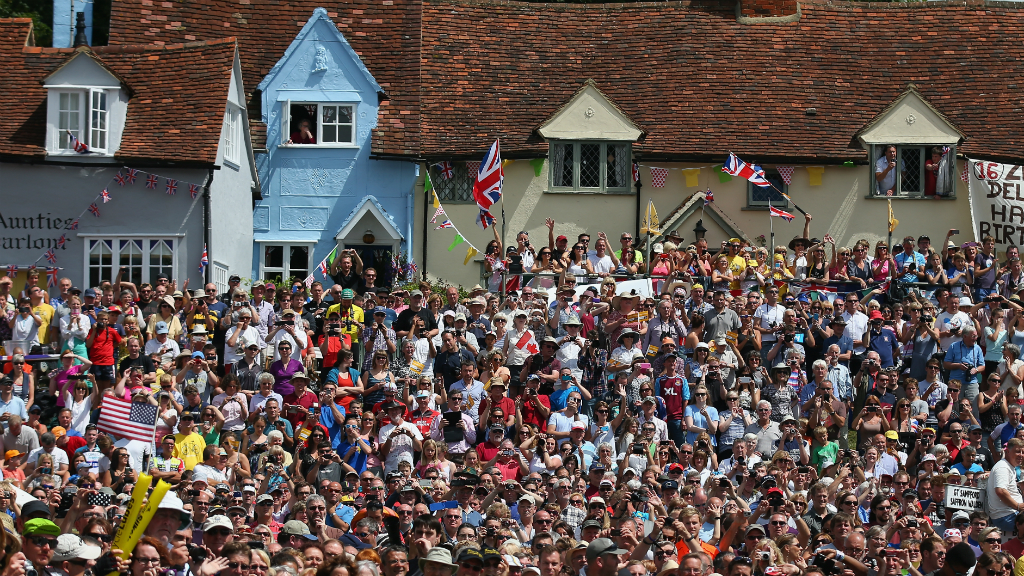Le Tour passes through Finchingfield on stage three, Cambridge to London. (Getty)