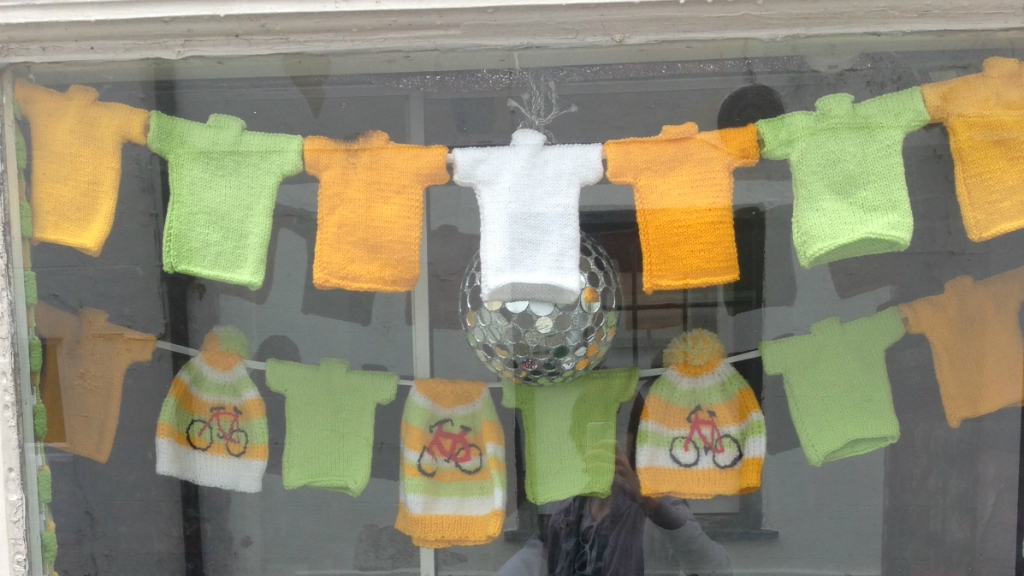 Knitting things together - organisers in Yorkshire asked for 8,000 mini T-shirts to line the route - and got 20,000.