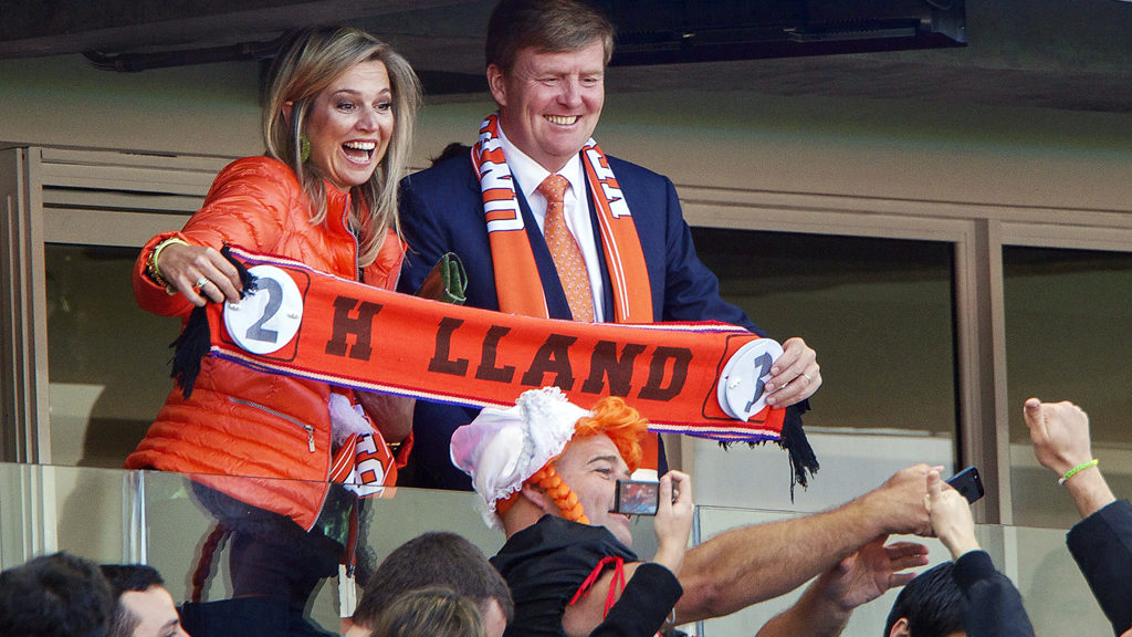 The Dutch king and queen supporting the national football team during the 2014 World Cup (Getty)