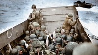 A landing crast vehicle approaches Omaha beach in Normany, France. (Getty Images)