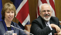 European Union Foreign Policy Chief Catherine Ashton (left) and Iran's Foreign Minister Mohammad Javad Zarif smile as they wait for the begin of talks in Vienna (Reuters)