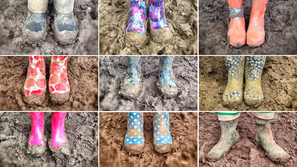 Glastonbury wellies in the mud