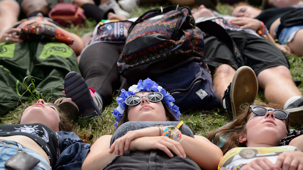 Open air yoga at Glastonbury